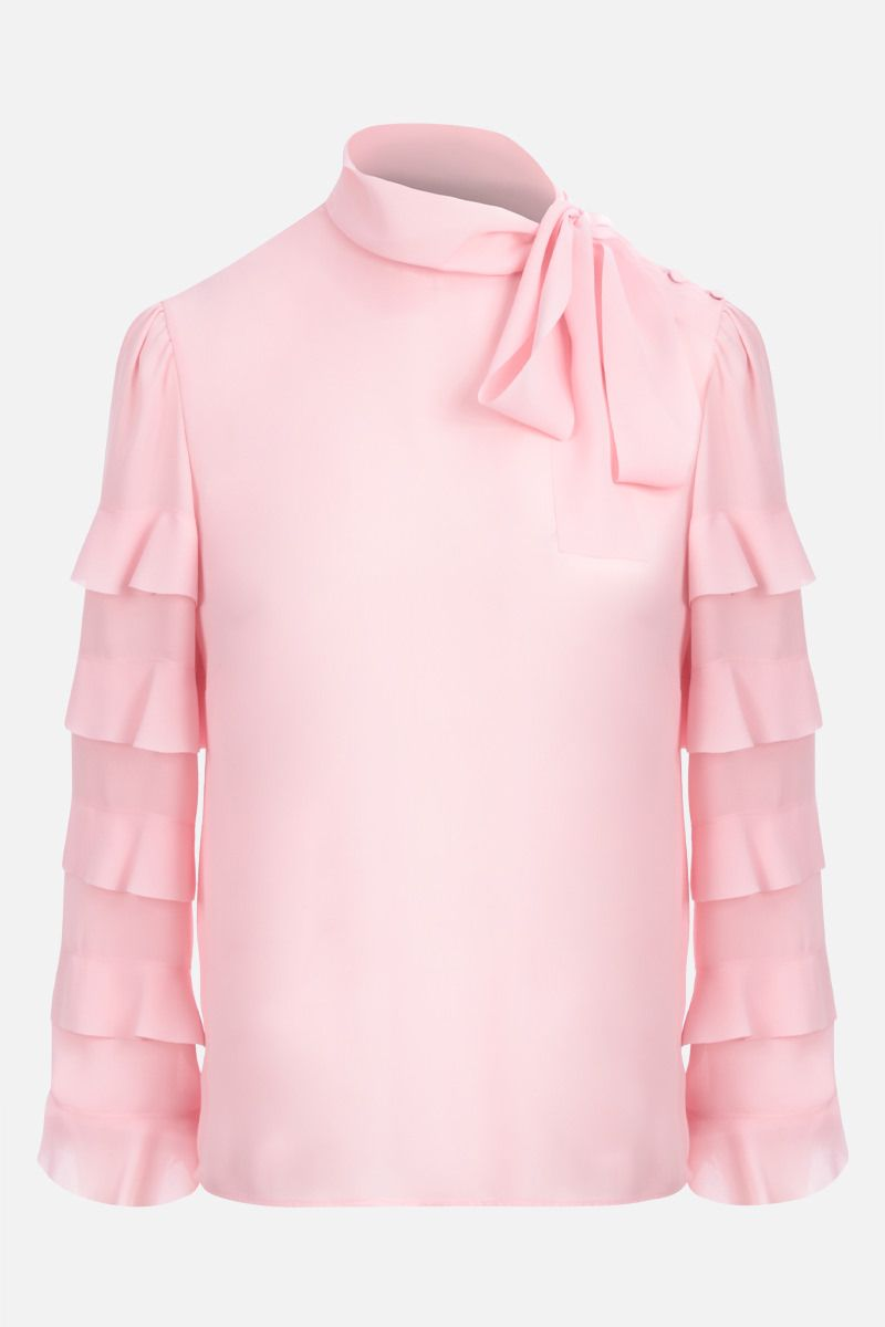 RED VALENTINO: blusa in crepe de chine con rouches Colore Rosa_1