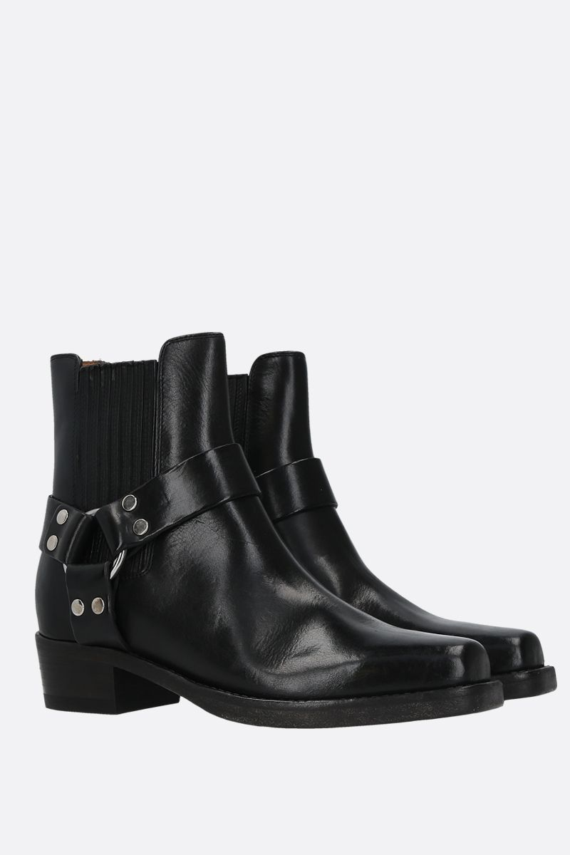 RE/DONE: Cavalry smooth leather ankle boots Color Black_2