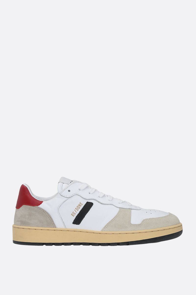 RE/DONE: 80S Basketball smooth leather and suede sneakers Color White_1