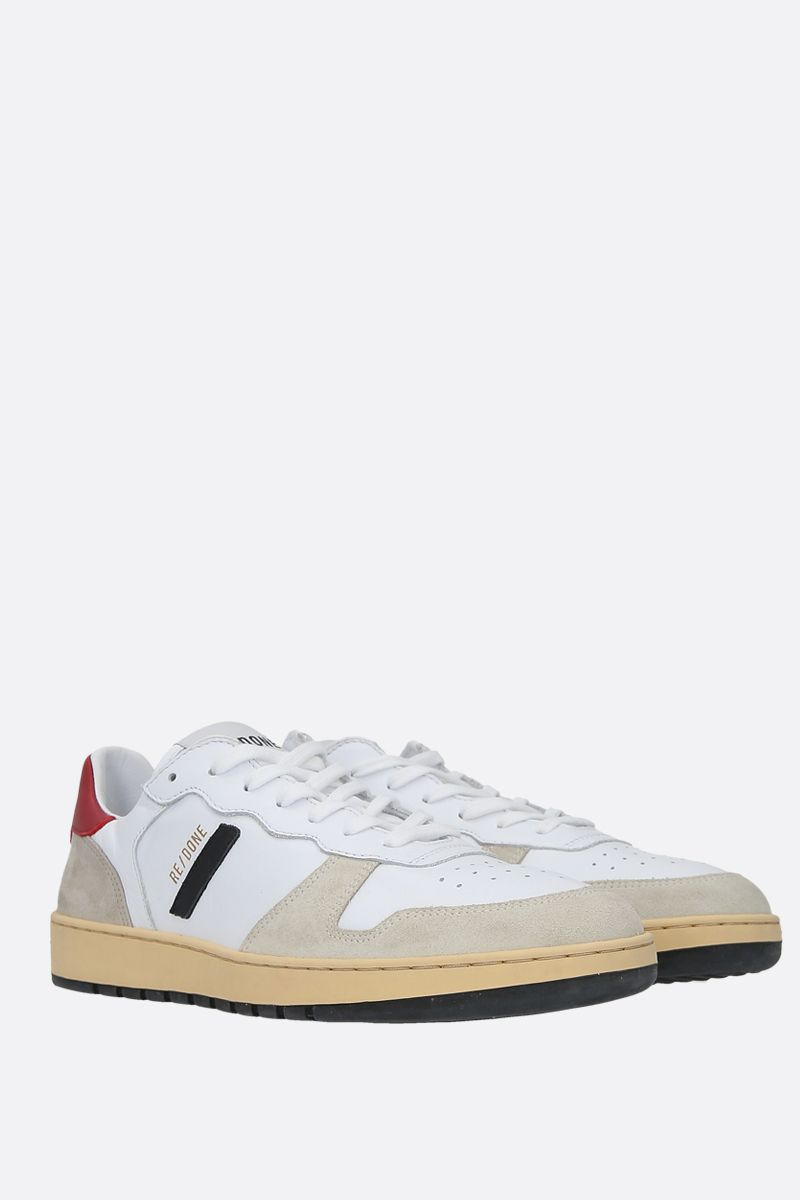 RE/DONE: 80S Basketball smooth leather and suede sneakers Color White_2