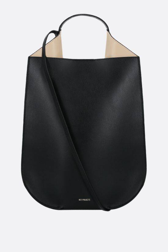 REE PROJECTS: borsa a mano Helene mini in pelle liscia Colore Nero_1