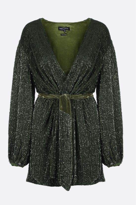 RETROFETE: Gabrielle sequinned wrap minidress Color Green_1