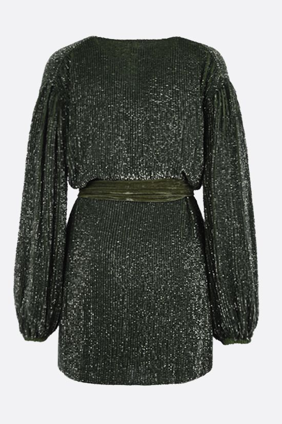 RETROFETE: Gabrielle sequinned wrap minidress Color Green_2