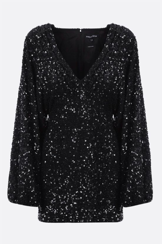 RETROFETE: Aubrielle sequinned fabric minidress Color Black_1