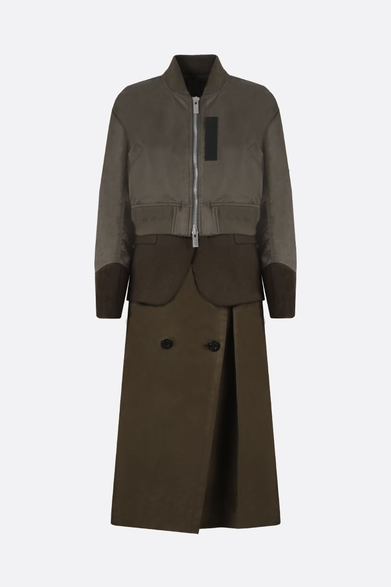 SACAI: nylon, wool and technical cotton destructured coat Color Brown_1