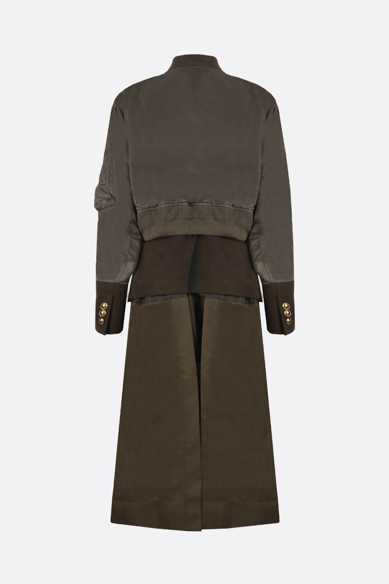 SACAI: nylon, wool and technical cotton destructured coat Color Brown_2