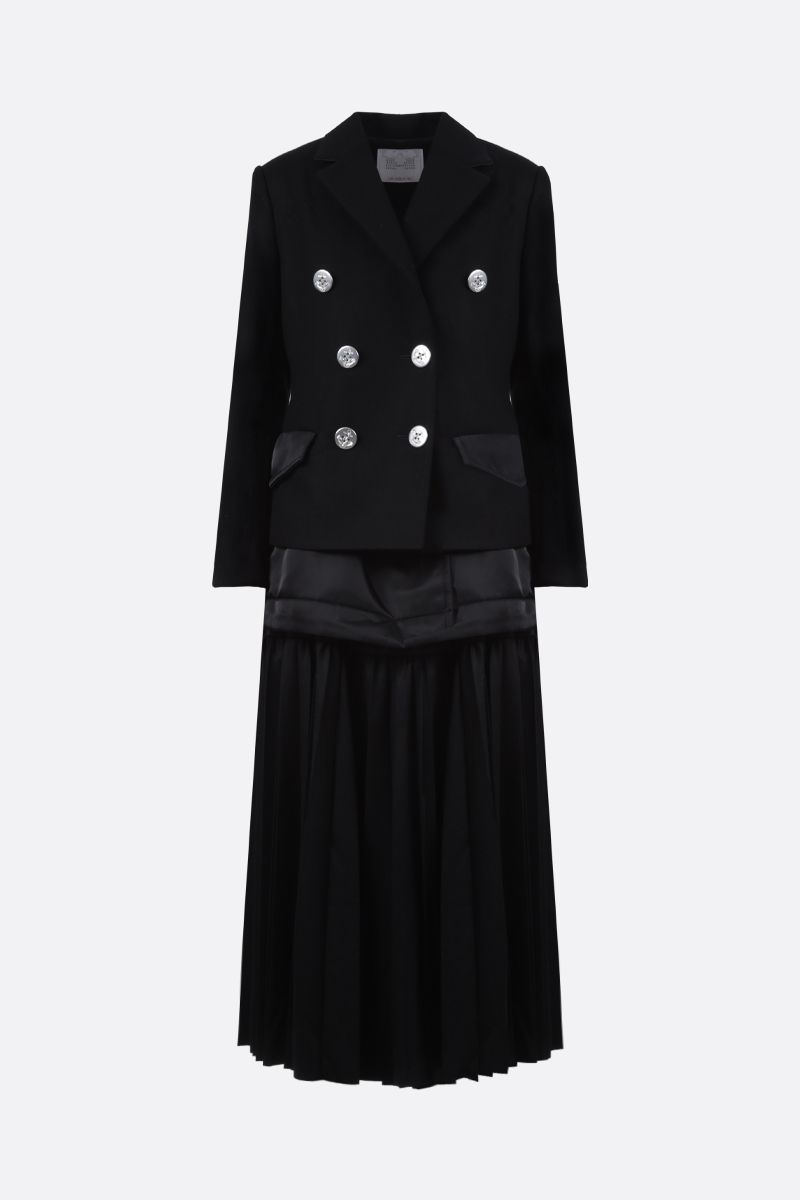 SACAI: pleated panel-detailed wool and nylon double-breasted coat Color Black_1