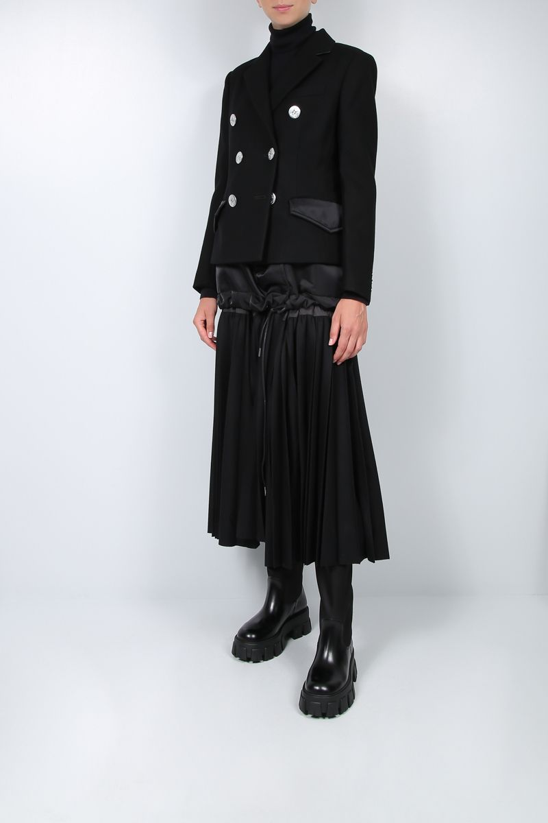 SACAI: pleated panel-detailed wool and nylon double-breasted coat Color Black_3