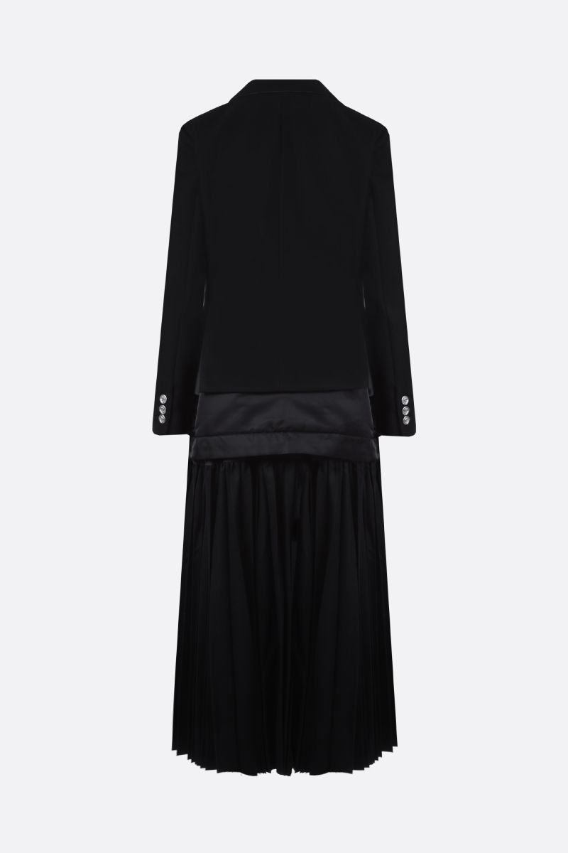 SACAI: pleated panel-detailed wool and nylon double-breasted coat Color Black_2