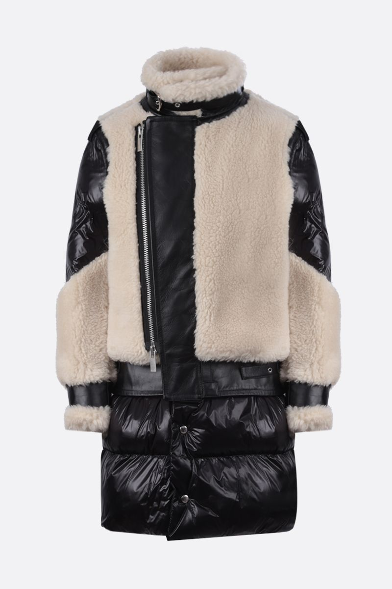 SACAI: nylon, leather and faux shearling padded jacket Color Neutral_1