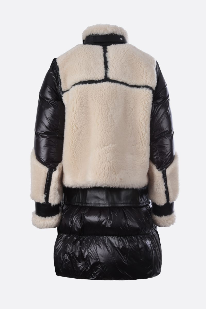 SACAI: nylon, leather and faux shearling padded jacket Color Neutral_2