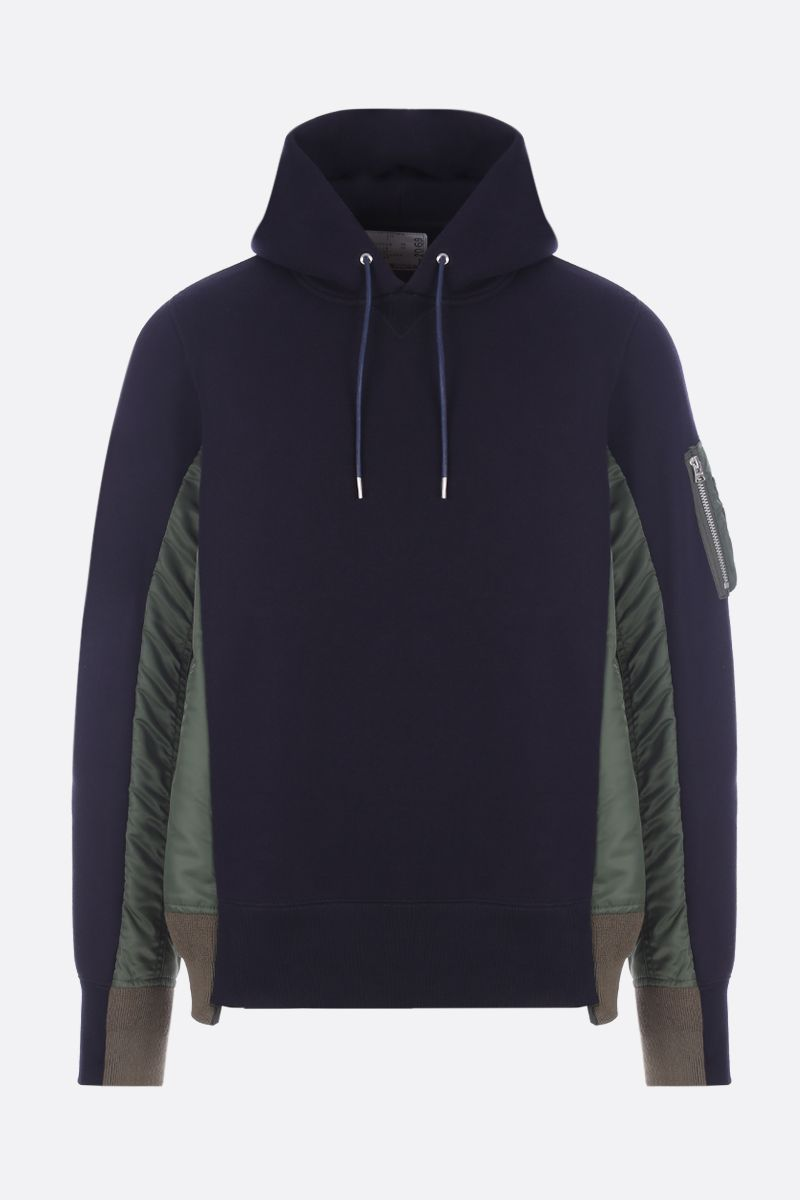 SACAI: nylon inserts-detailed jersey hoodie_1