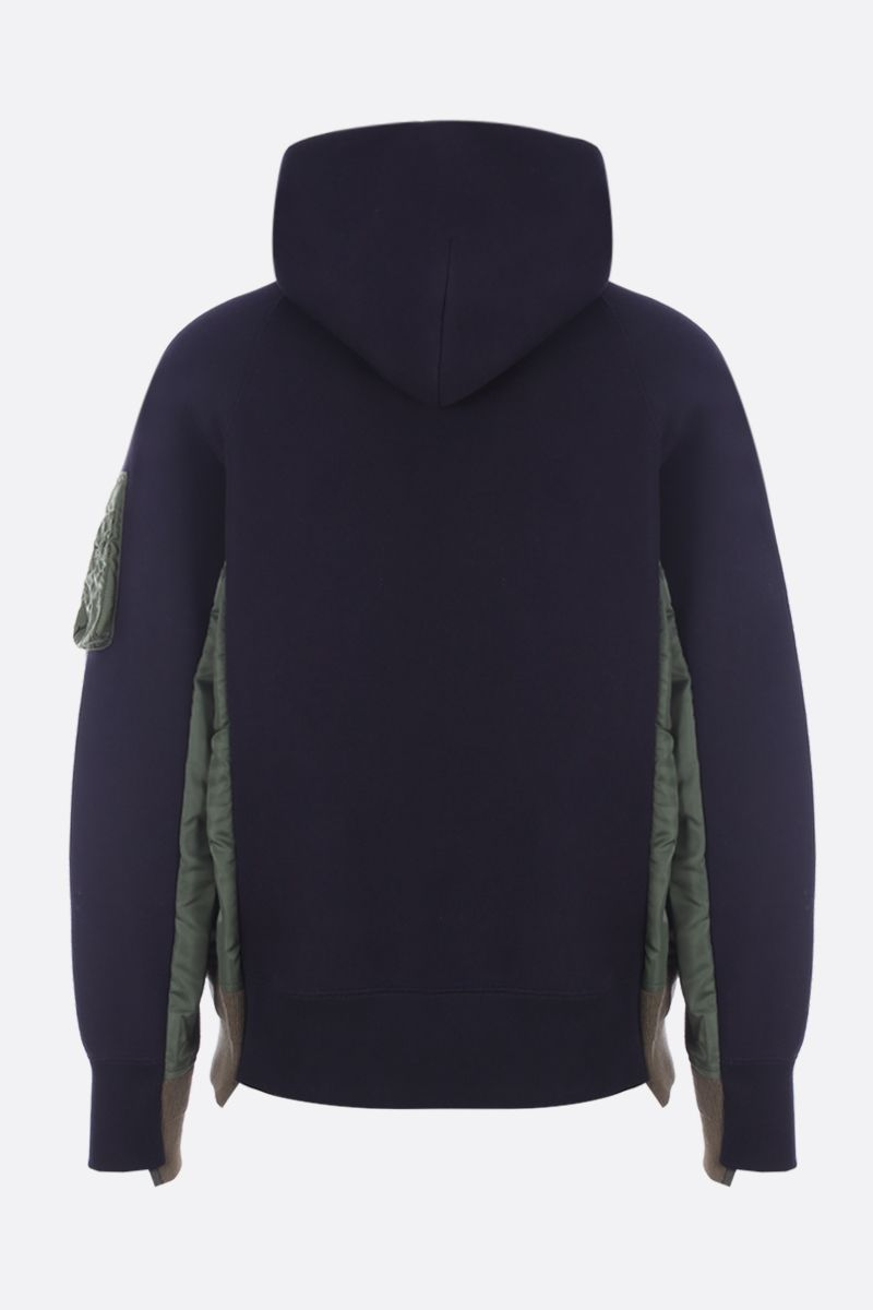 SACAI: nylon inserts-detailed jersey hoodie_2
