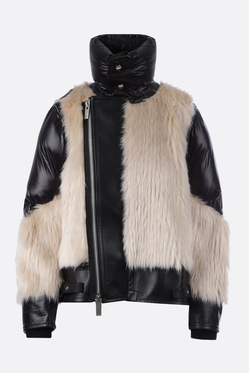 SACAI: leather, padded nylon and faux fur biker jacket Color Neutral_1