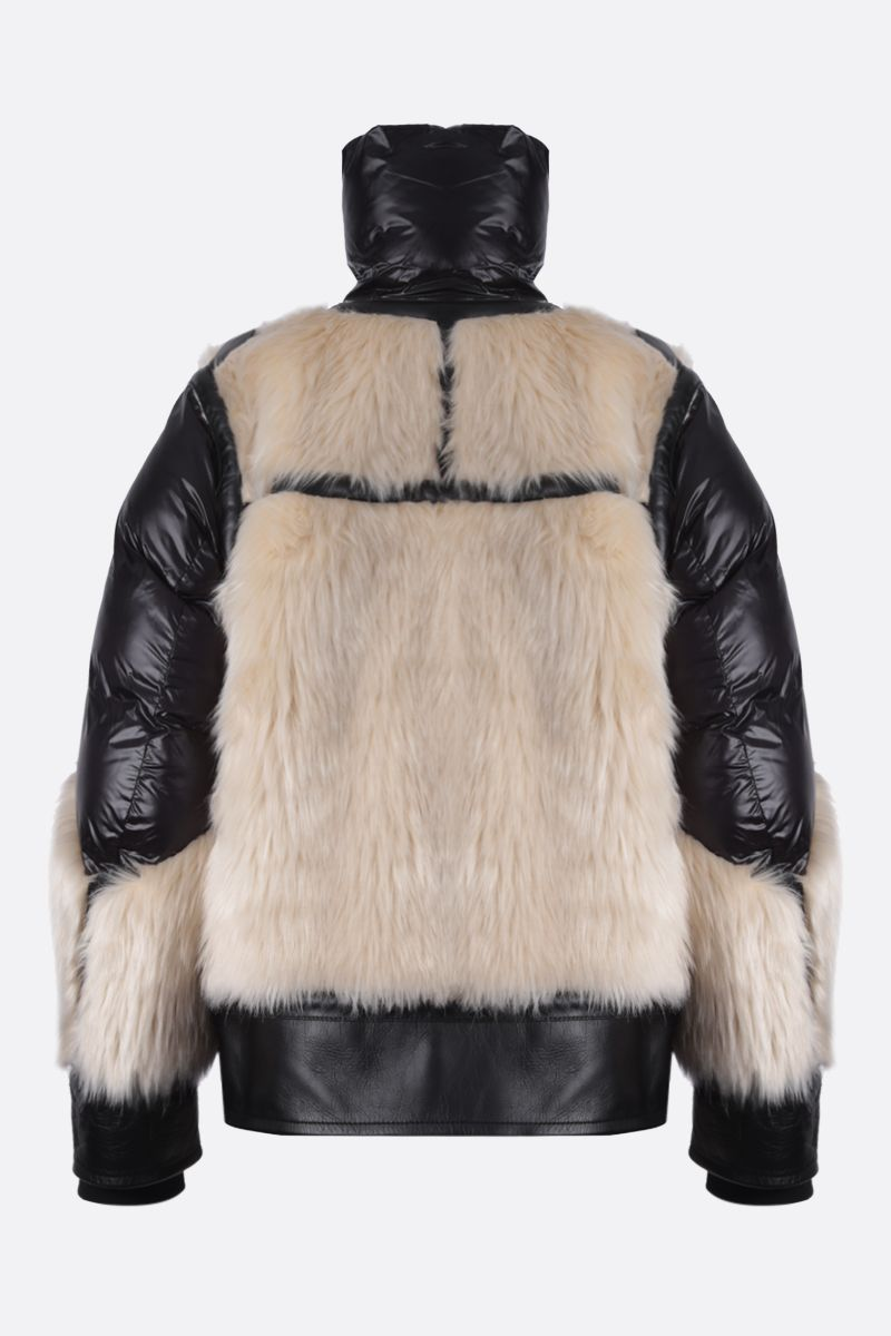 SACAI: leather, padded nylon and faux fur biker jacket Color Neutral_2