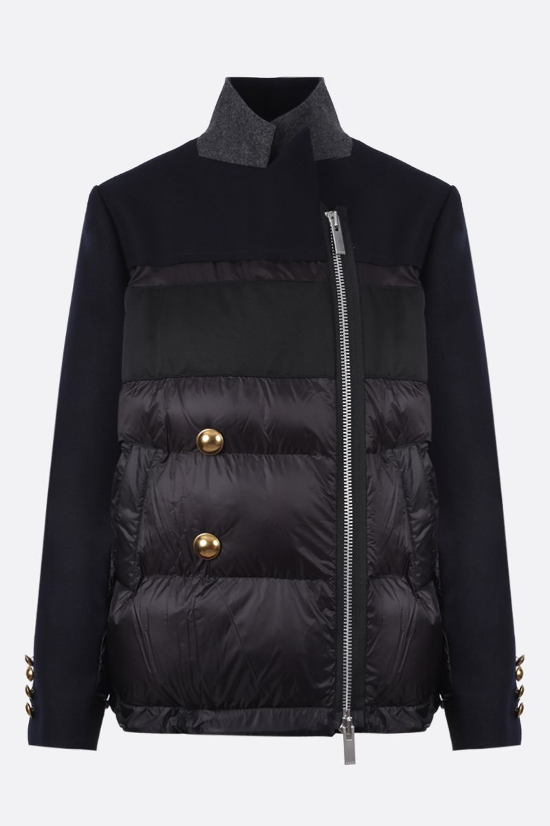 SACAI: nylon and wool padded jacket Color Blue_1