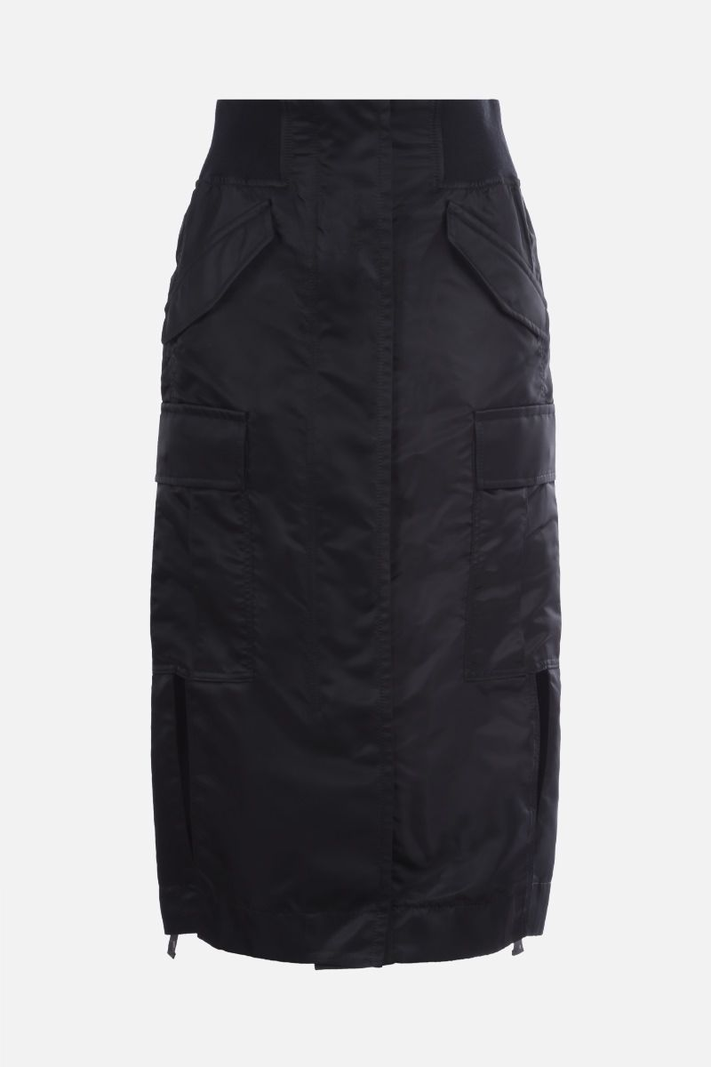 SACAI: nylon twill long skirt Color Black_1