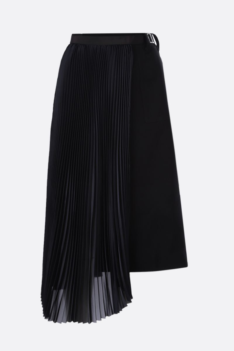 SACAI: satin and cady asymmetric skirt Color Black_1
