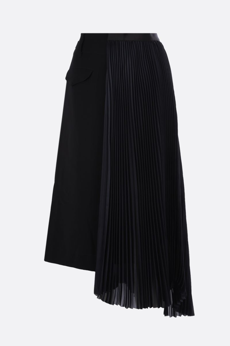 SACAI: satin and cady asymmetric skirt Color Black_2
