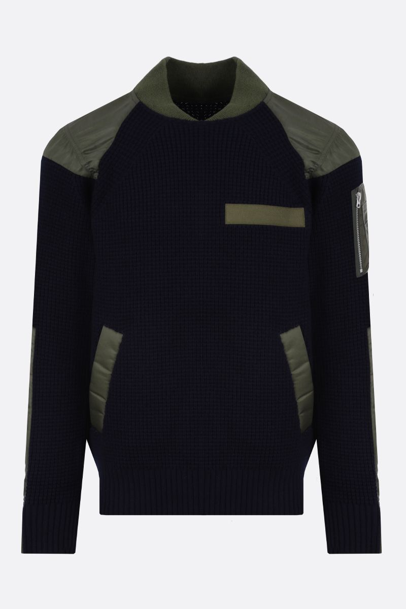SACAI: pullover in lana con inserti in nylon Colore Marrone_1