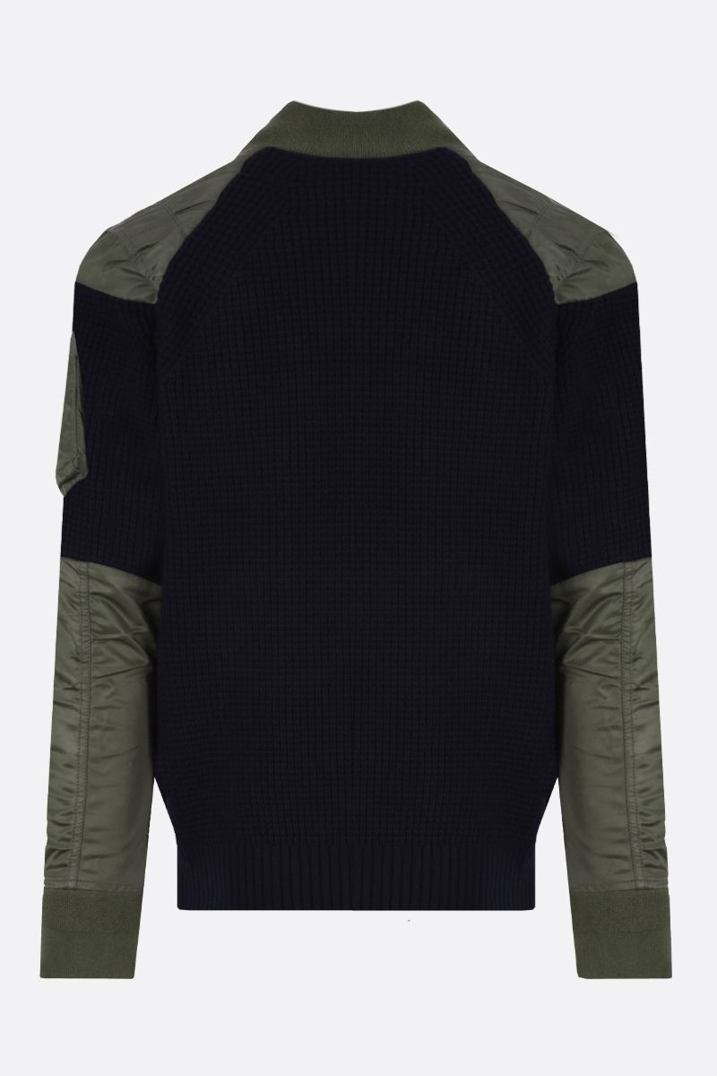 SACAI: pullover in lana con inserti in nylon Colore Marrone_2