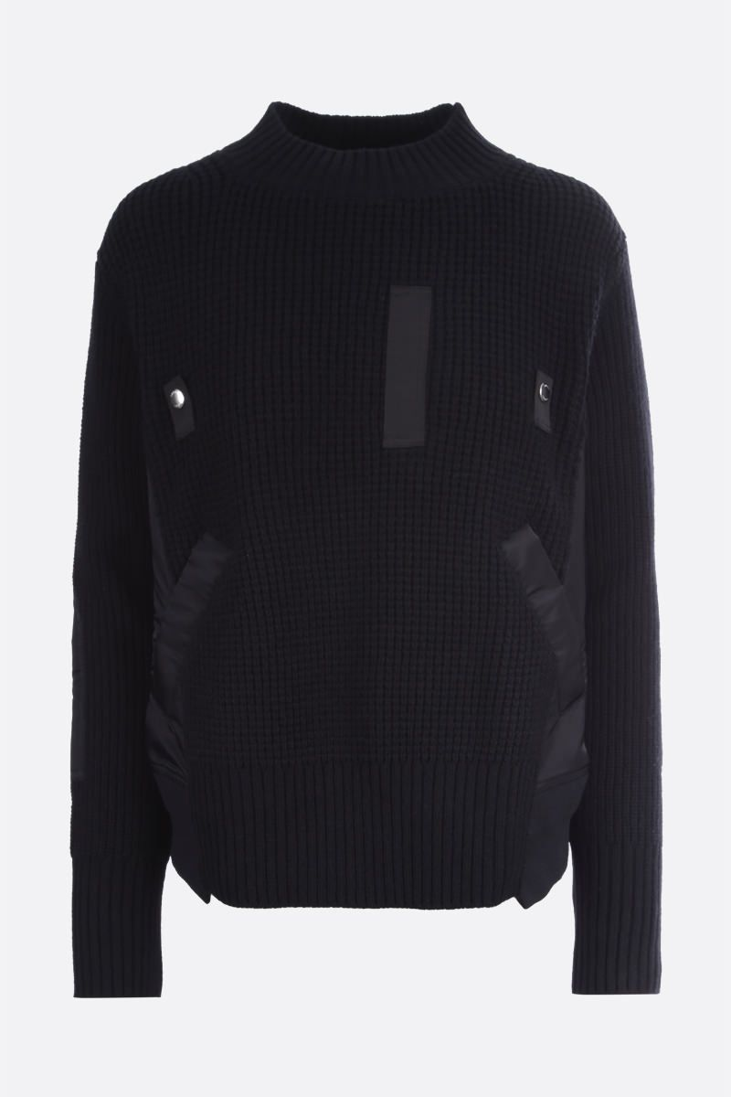 SACAI: nylon insert-detailed wool pullover Color Black_1