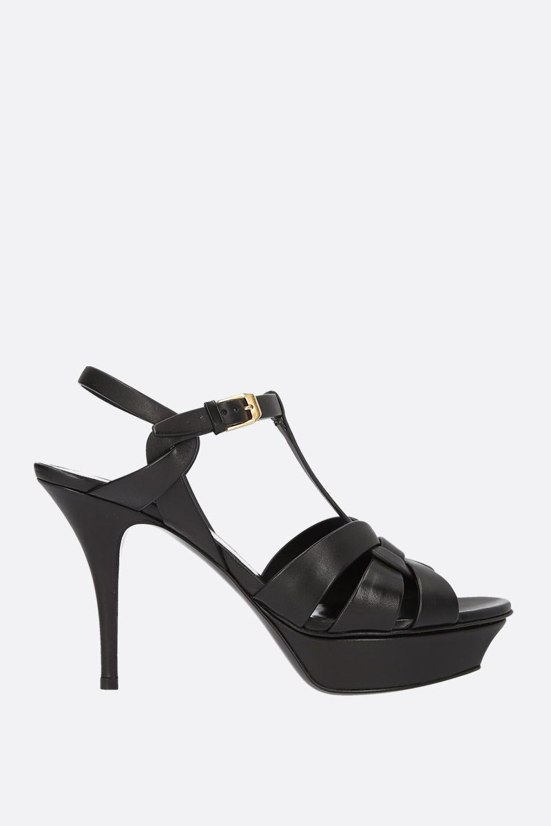 SAINT LAURENT: Tribute smooth leather platform sandals Color Black_1