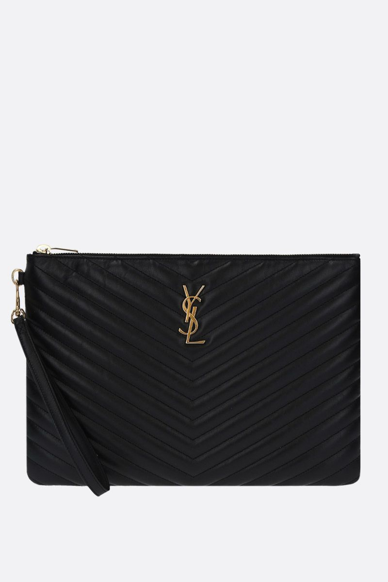 SAINT LAURENT: clutch Monogram A5 in pelle matelassè Colore Nero_1