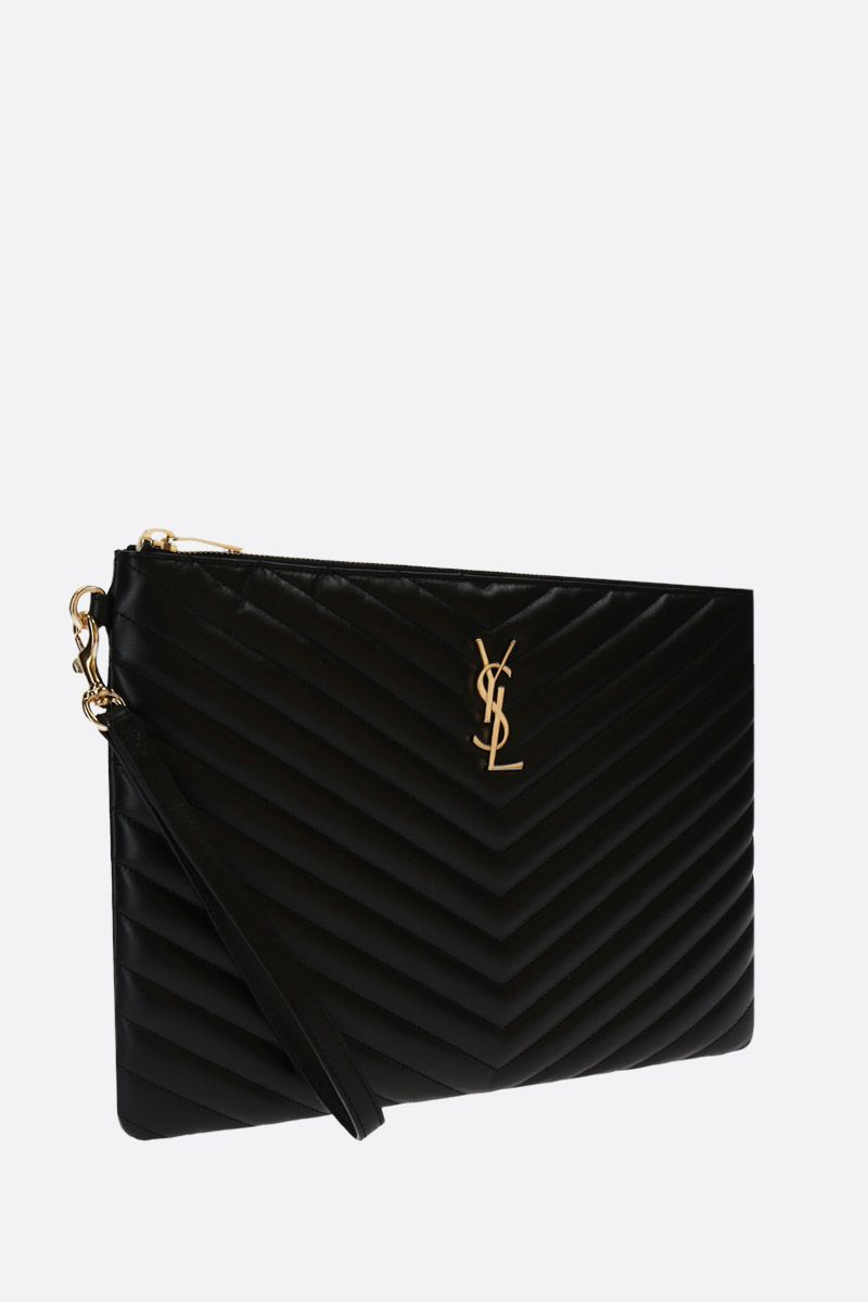 SAINT LAURENT: clutch Monogram A5 in pelle matelassè Colore Nero_2