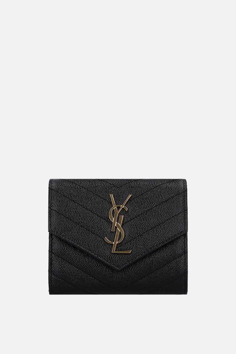 SAINT LAURENT: Monogram quilted leather trifold wallet Color Black_1