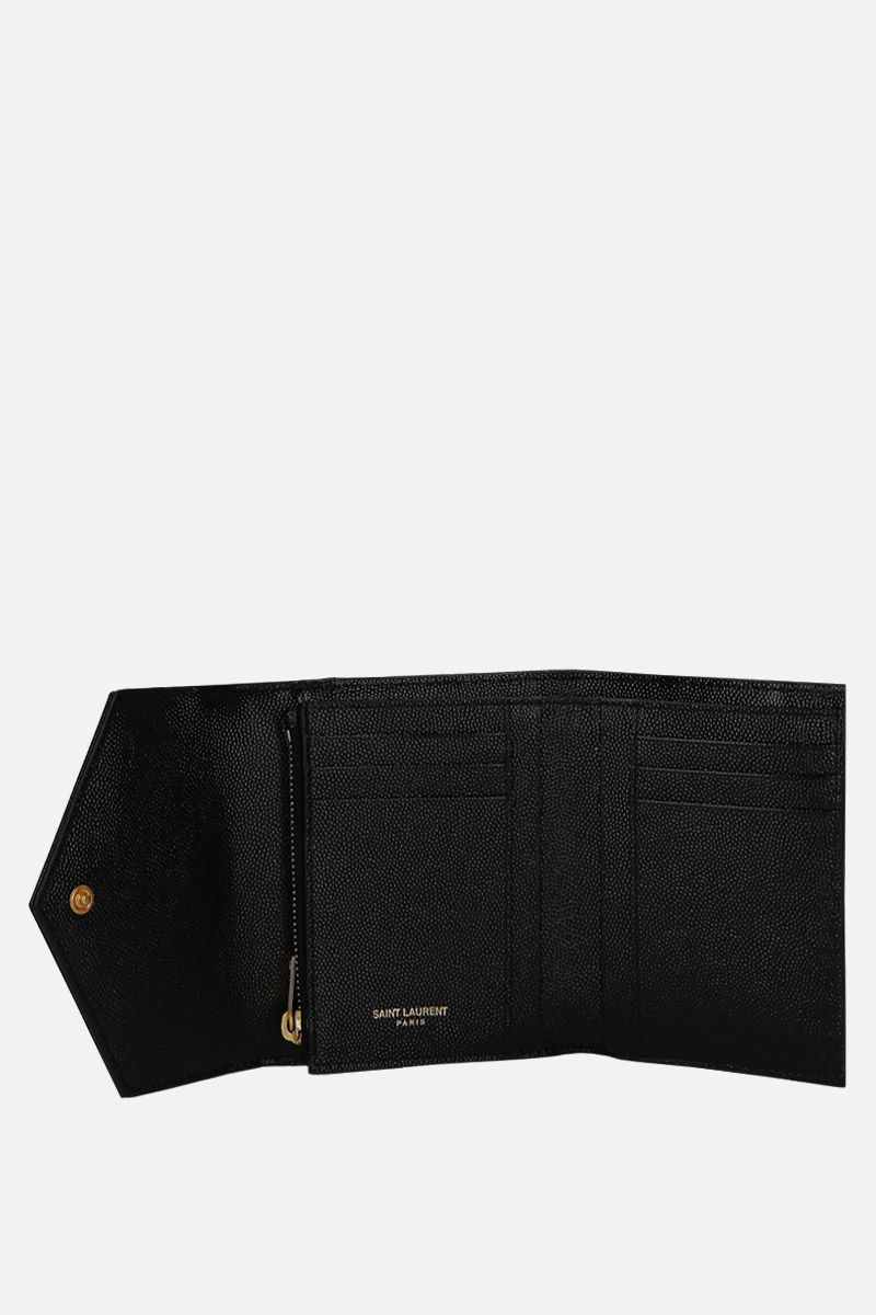 SAINT LAURENT: Monogram quilted leather trifold wallet Color Black_2