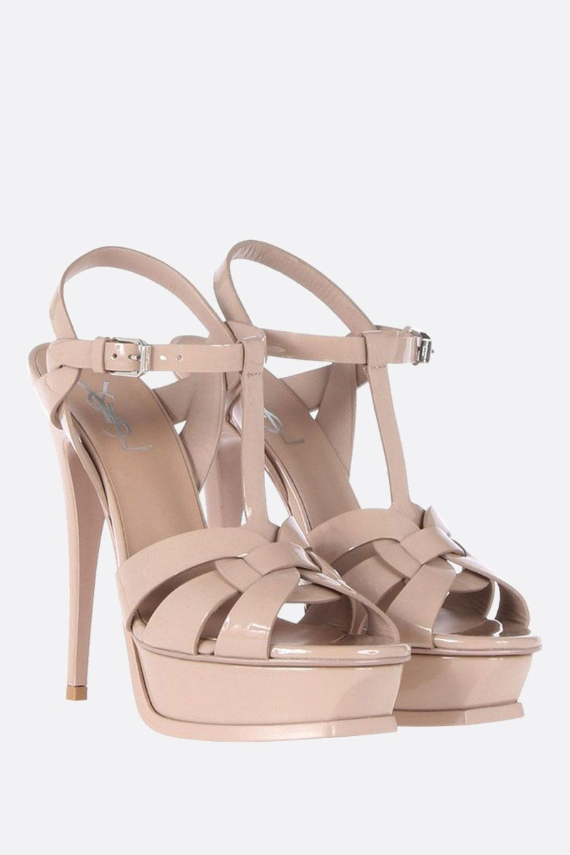 SAINT LAURENT: Tribute patent leather platform sandals Color Neutral_2