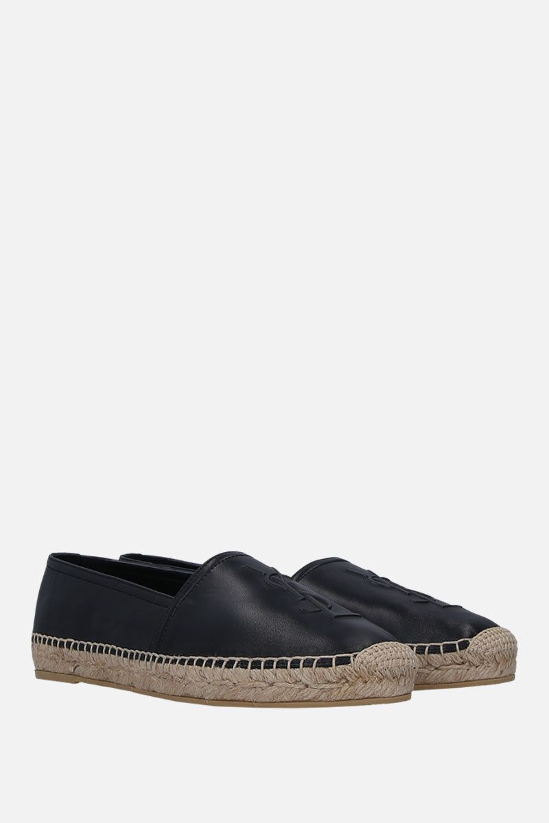 SAINT LAURENT: Monogram soft nappa espadrilles Color Black_2
