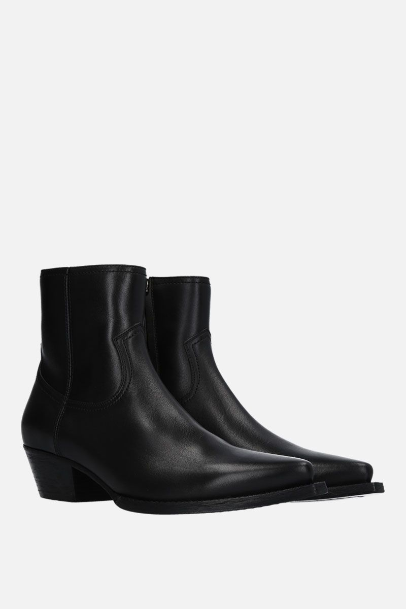 SAINT LAURENT: Lukas smooth leather western boots Color Black_2