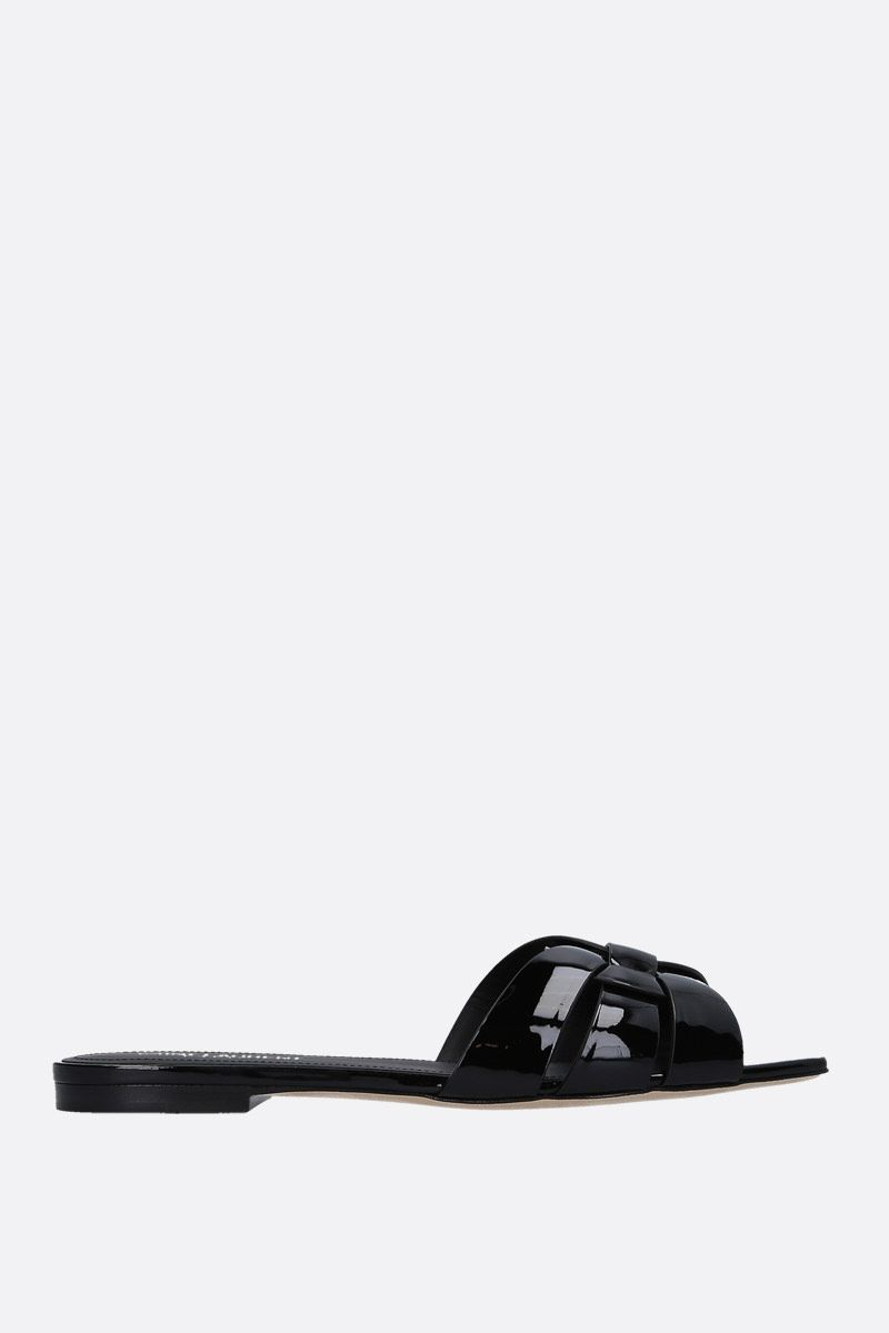 SAINT LAURENT: Nu Pieds 05 patent leather flat sandals Color Black_1