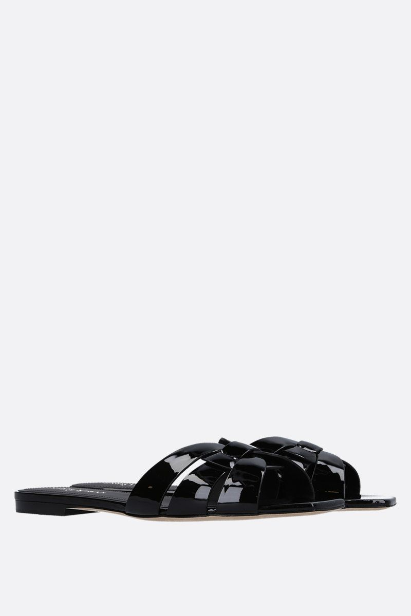 SAINT LAURENT: Nu Pieds 05 patent leather flat sandals Color Black_2