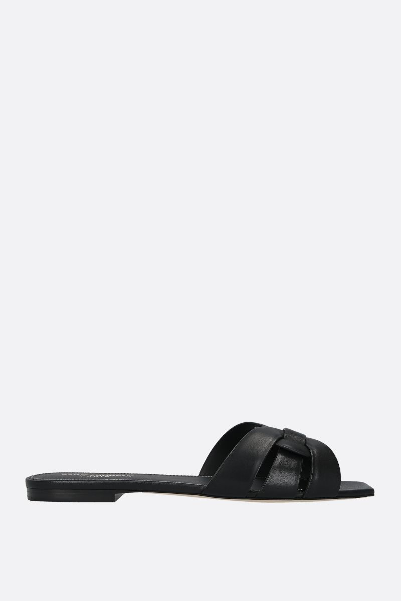 SAINT LAURENT: Nu Pieds 05 smooth leather flat sandals Color Black_1