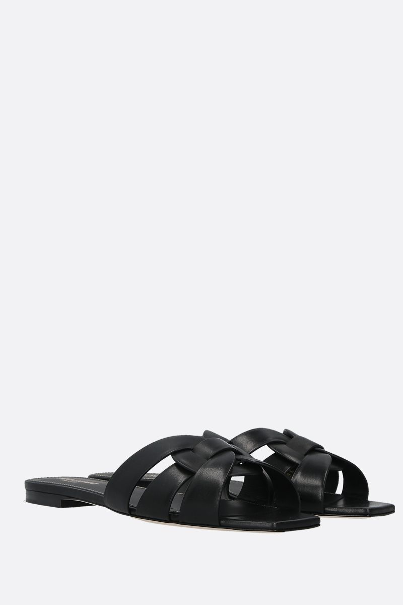SAINT LAURENT: Nu Pieds 05 smooth leather flat sandals Color Black_2
