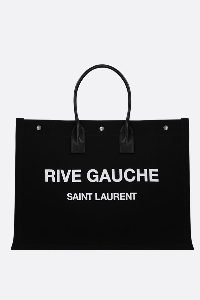 SAINT LAURENT: borsa tote Noe in canvas Colore Nero_1