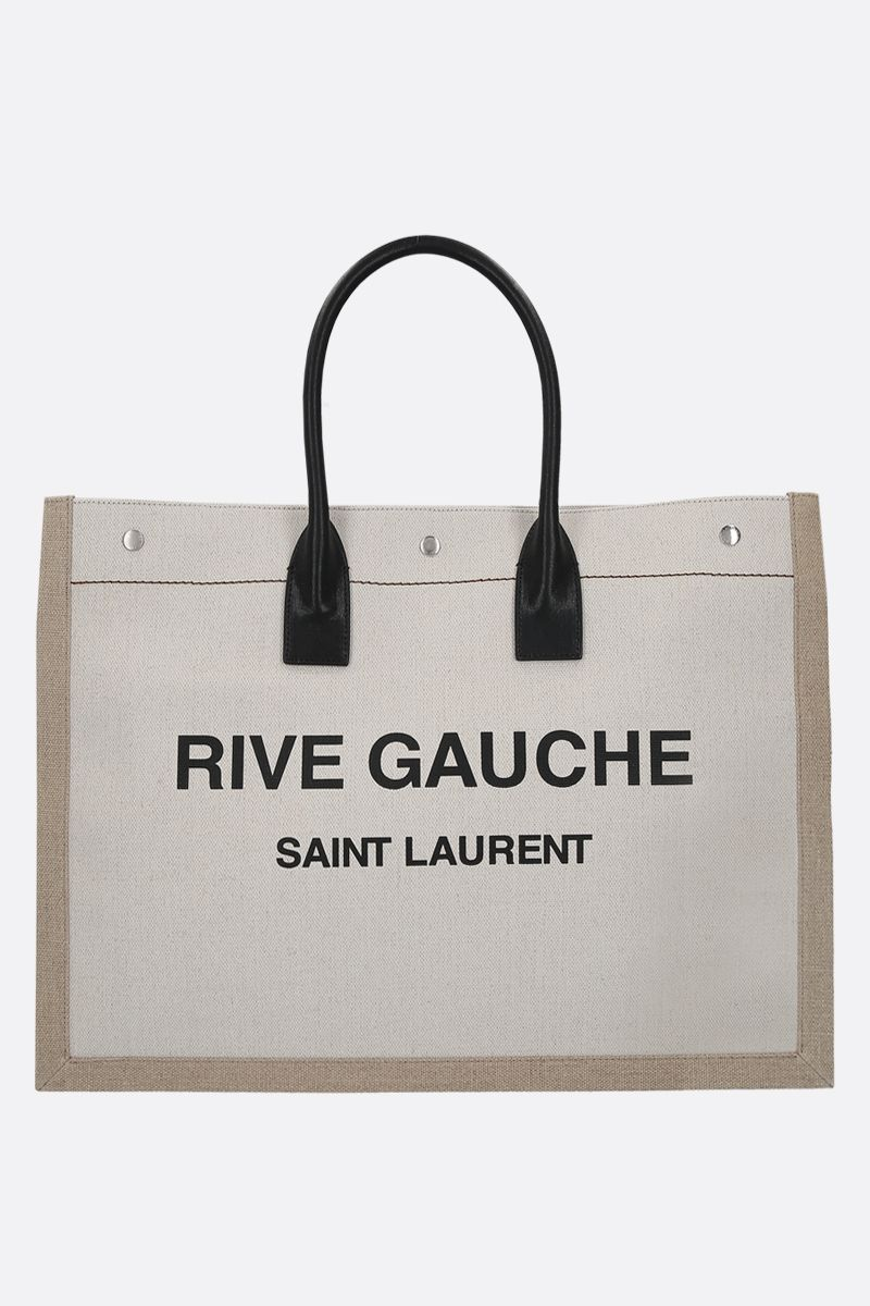SAINT LAURENT: Noe linen canvas tote bag Color Grey_1