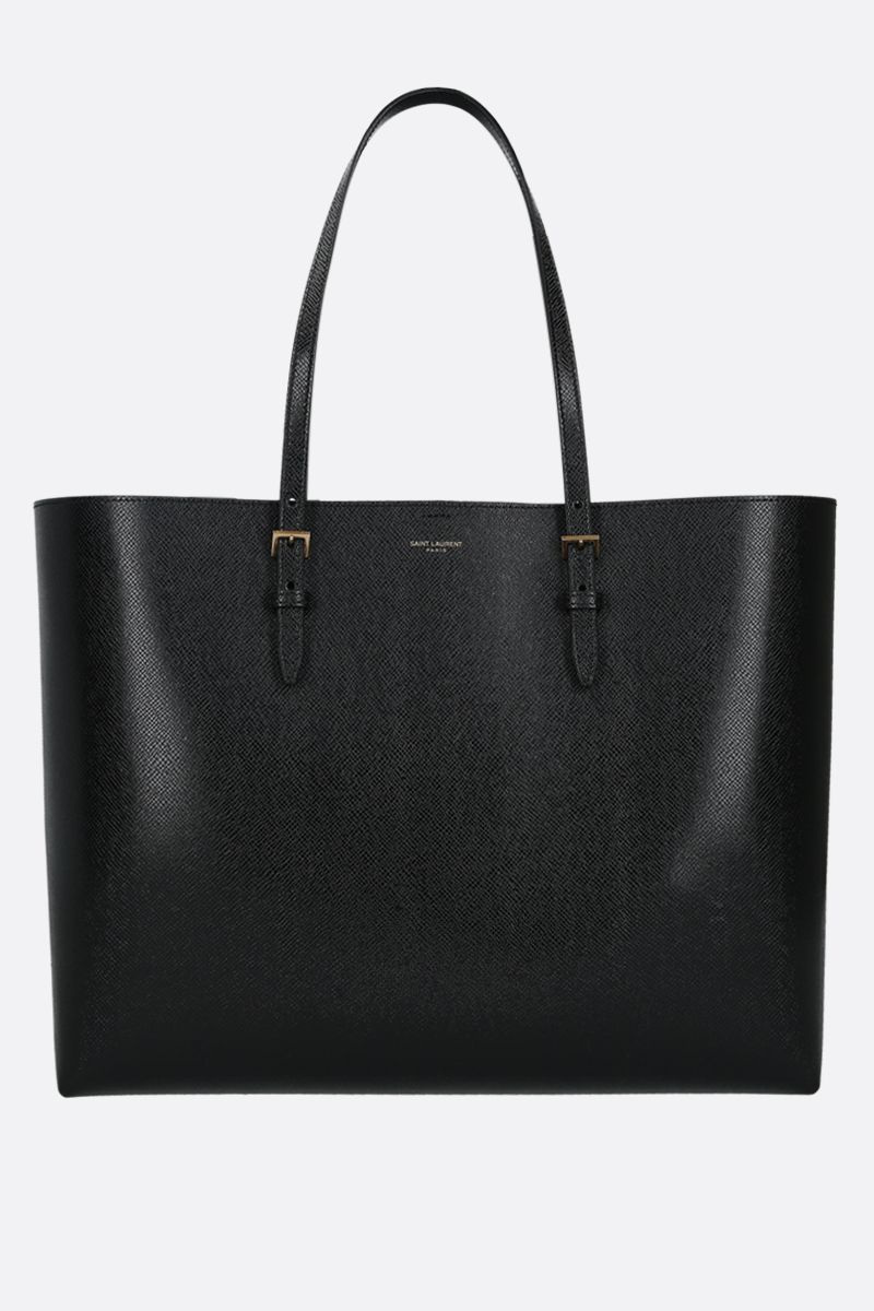 SAINT LAURENT: E/W Boucle textured leather tote Color Black_1