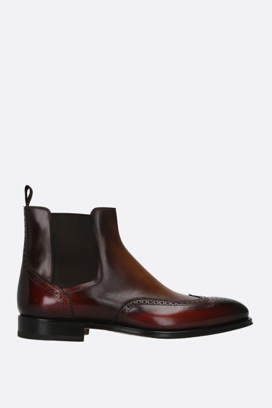 SANTONI: dyed-leather chelsea boots Color Brown_1