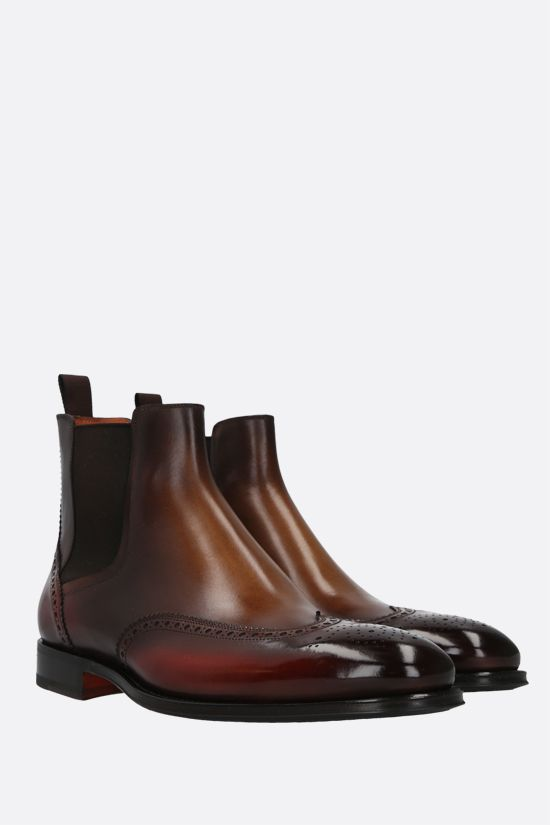 SANTONI: dyed-leather chelsea boots Color Brown_2