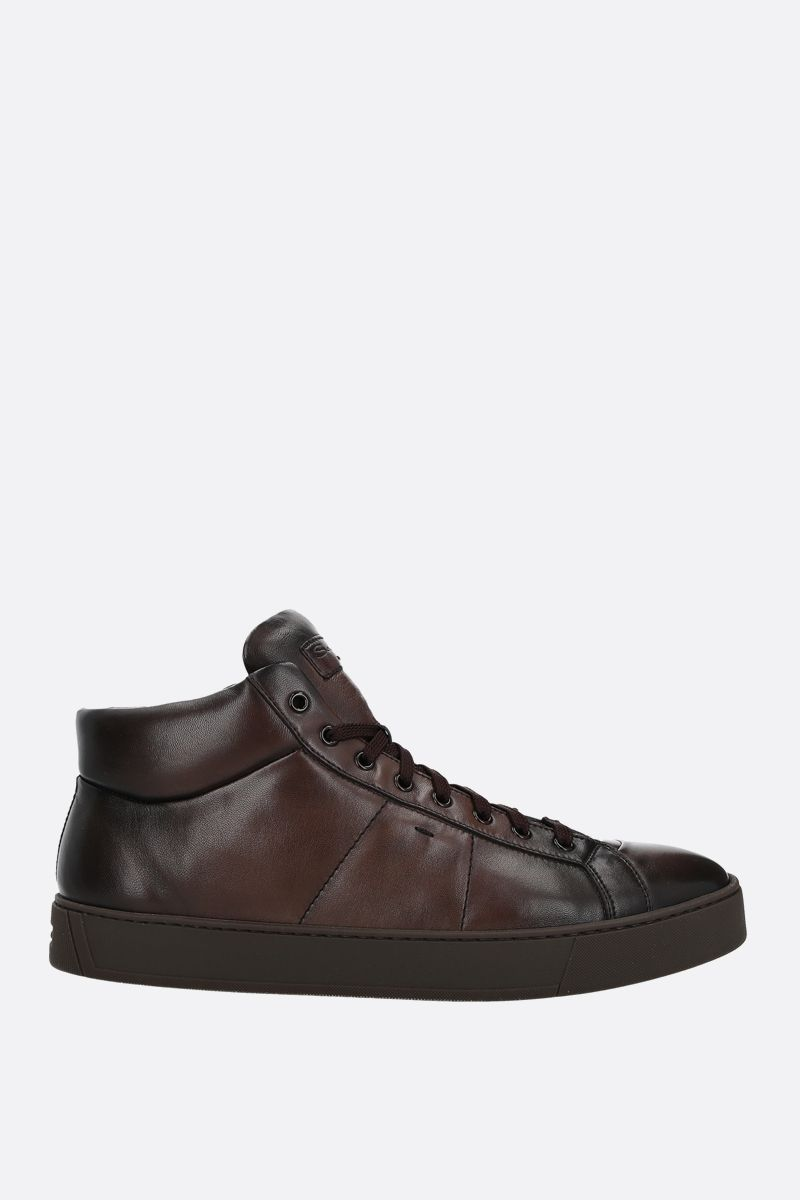 SANTONI: sneaker high-top in pelle liscia Colore Marrone_1