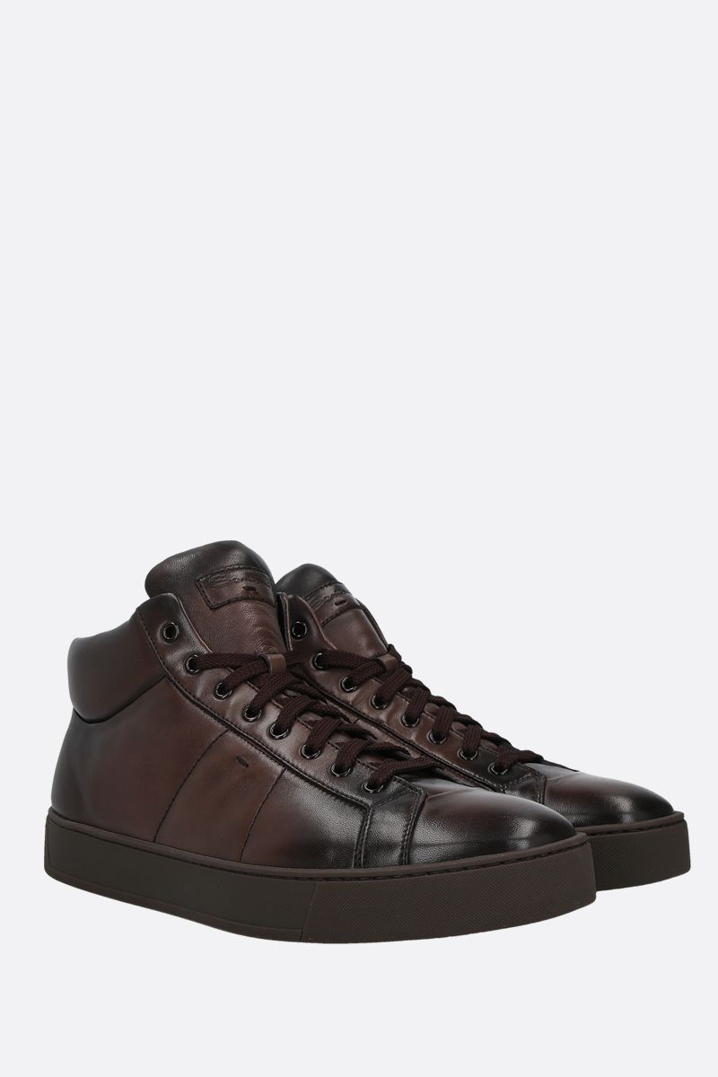SANTONI: smooth leather high-top sneakers Color Brown_2