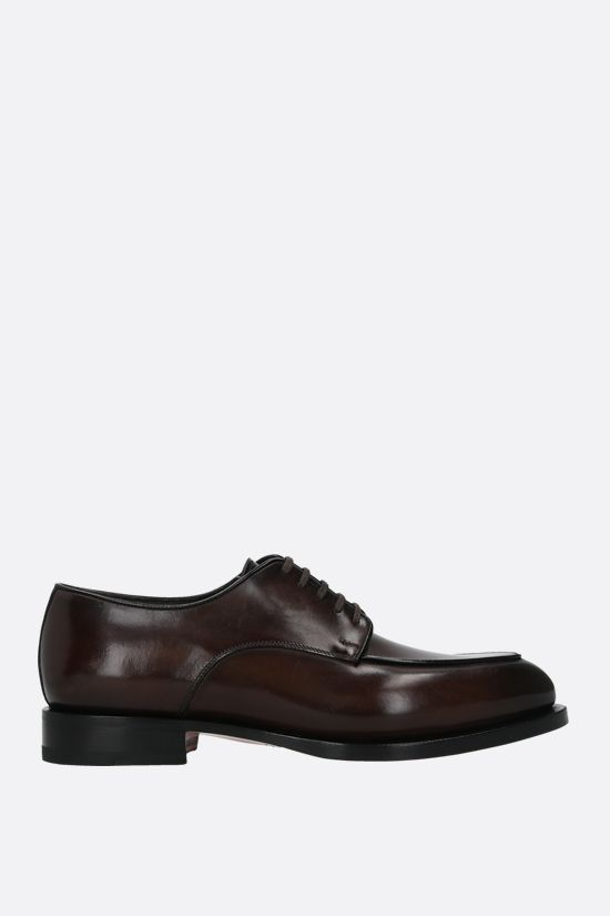 SANTONI: shiny leather derby shoes Color Brown_1