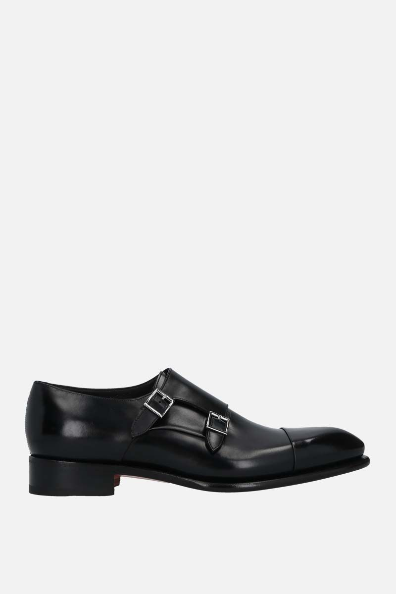 SANTONI: shiny leather monk-strap shoes Color Black_1