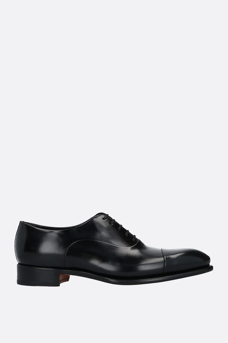 SANTONI: shiny leather oxford shoes Color Black_1