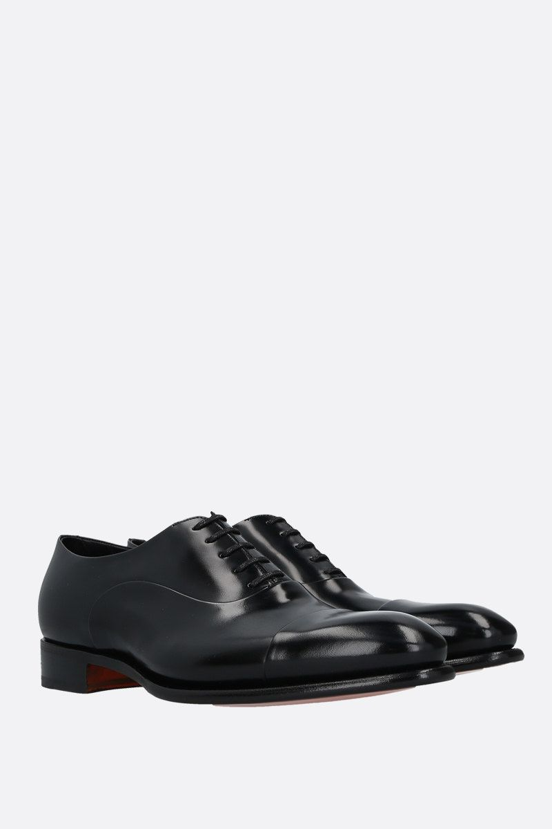 SANTONI: shiny leather oxford shoes Color Black_2