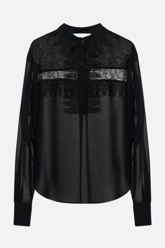 SEE BY CHLOÈ: lace insert georgette blouse Color Black_1